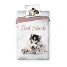 Best Friends kutyás-cicás ágyneműhuzat szett - Összebújva