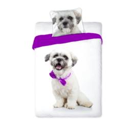 Best Friends kutyás ágyneműhuzat szett - Kutya lila masnival
