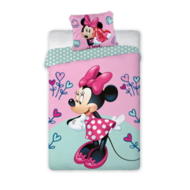 Minnie Mouse - Szívecskés ágyneműhuzat szett