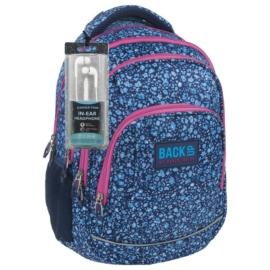 BackUp iskolatáska, hátizsák - 4 rekeszes - Kék virágok (PLB1A14)