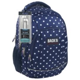 BackUp iskolatáska, hátizsák - 4 rekeszes - Fehér csillagok (PLB1A25)