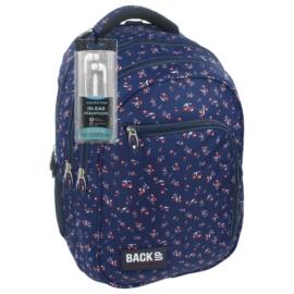 BackUp iskolatáska, hátizsák - 3 rekeszes - Piros virágok (PLB1D26)