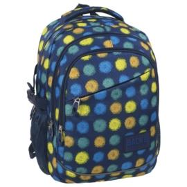 BackUp iskolatáska, hátizsák - 3 rekeszes - Sárga-kék foltos (PLB1G41)
