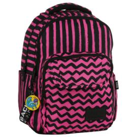 BackUp iskolatáska, hátizsák - 3 rekeszes - Rózsaszín csíkok (PLB2L07)