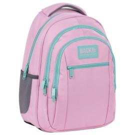 BackUp iskolatáska, hátizsák mellpánttal - 3 rekeszes - Pasztell rózsaszín