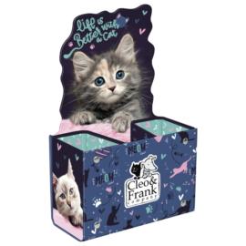 Cleo és Frank cicás asztali tolltartó - Life is better with a cat