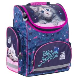 Cleo és Frank cicás ergonomikus iskolatáska - Life is better with a cat