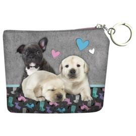 Cleo és Frank kutyás pénztárca kulcskarikával - Bulldog és labrador (PORCF24)