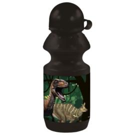Dinoszaurusz műanyag kulacs kupakkal - fekete