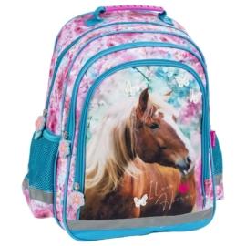 Lovas iskolatáska, hátizsák - I love horses - Kék-rózsaszín