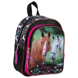 Lovas kisméretű hátizsák - I love horses - Fekete