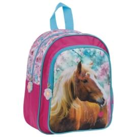Lovas kisméretű hátizsák - I love horses - Kék-rózsaszín