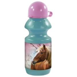 Lovas műanyag kulacs kupakkal - I love horses - Kék-rózsaszín