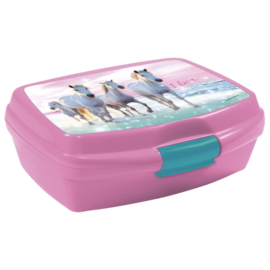 Lovas műanyag uzsonnás doboz - I love horses - Rózsaszín