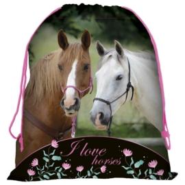 Lovas tornazsák - I love horses, fekete