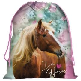 Lovas tornazsák - I love horses, kék-rózsaszín