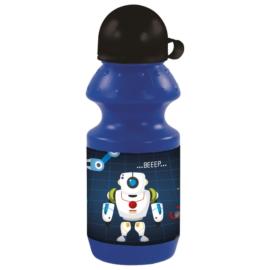 Robotos műanyag kulacs kupakkal - Kék