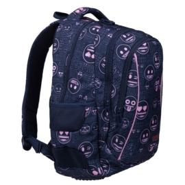 Emoji hátizsák, iskolatáska - 3 rekeszes - Pink (207419)