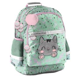 Cutie cicás iskolatáska, hátizsák - 3 rekeszes - Szürke cica