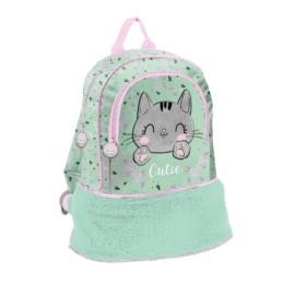 Cutie cicás kisméretű, szőrmés hátizsák - Szürke cica