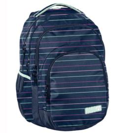 Színes csíkos mintás hátizsák, iskolatáska - 3 rekeszes - Kék (PPMY19-2706)
