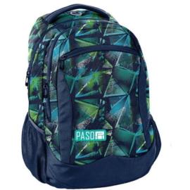 Színes háromszög mintás hátizsák, iskolatáska - 3 rekeszes - Zöld-kék (18-2808RG/16)