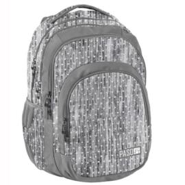 Szívecskés hátizsák, iskolatáska - 3 rekeszes - Szürke (PPMM19-2706)