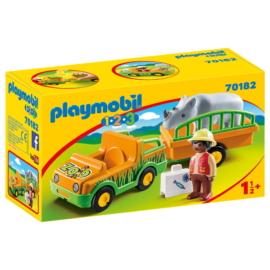 Playmobil 1.2.3 - Állatkerti autó orrszarvúval játékszett