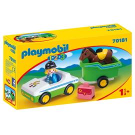 Playmobil 1.2.3 - Kisautó lószállító pótkocsival játékszett