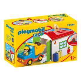 Playmobil 1.2.3 - Teherautó formaválogató garázzsal játékszett
