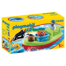 Playmobil 1.2.3 - Tengerész halászcsónakkal játékszett