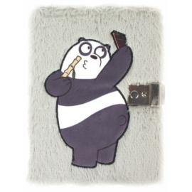 Medvetesók - Panda szőrmés kulcsos napló 15 x 20 cm (410012)