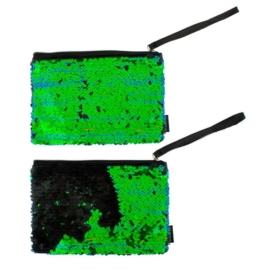 Dupla flitteres neszesszer - fekete-zöld (429463)