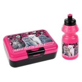 Cicás uzsonnás doboz kulaccsal - Pink-fekete