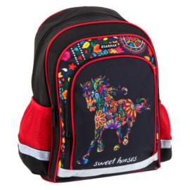 Lovas ergonomikus iskolatáska, hátizsák - Sweet horses, virágos (396187)