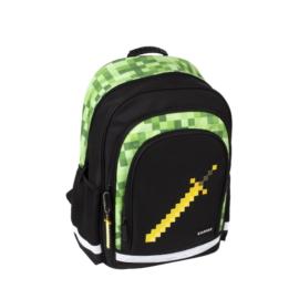 Pixel Game iskolatáska, hátizsák - 3 rekeszes - Green