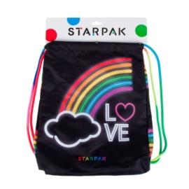 Szivárványos zsinóros hátizsák, tornazsák - LOVE