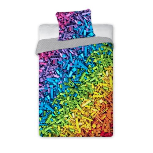 Építőkockás ágyneműhuzat szett - Szivárvány színek