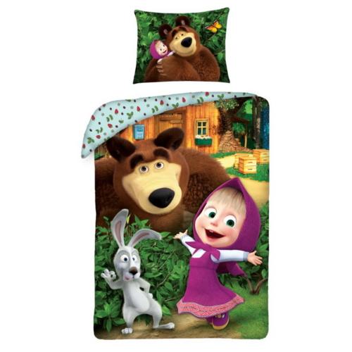 Mása és a medve ágyneműhuzat szett - Az erdőben nyuszival