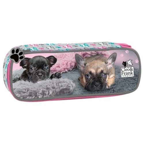 Cleo és Frank ovális tolltartó - Francia bulldog (PHCF19)
