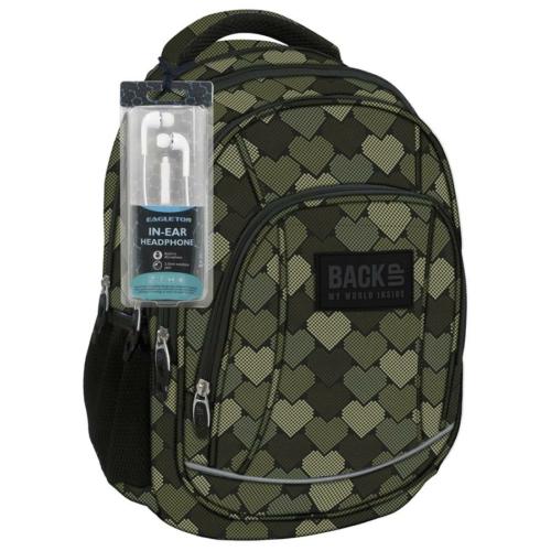 BackUp iskolatáska, hátizsák - 4 rekeszes - Szívek (PLB1A10)