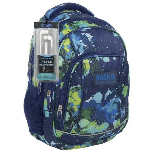 BackUp iskolatáska, hátizsák - 4 rekeszes - Színes pacák (PLB1A22)