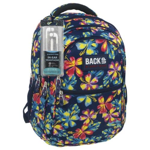 BackUp iskolatáska, hátizsák - 4 rekeszes - Trópusi virágok (PLB1B2)
