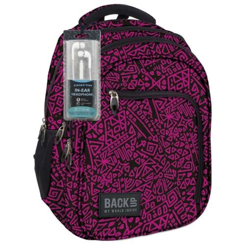 BackUp iskolatáska, hátizsák - 3 rekeszes - Fekete-rózsaszín (PLB1D20)