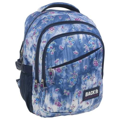 BackUp iskolatáska, hátizsák - 3 rekeszes - Kék-lila virágok (PLB1G44)