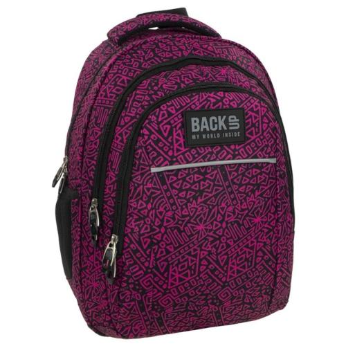 BackUp iskolatáska, hátizsák - 3 rekeszes - Fekete-rózsaszín (PLB1H20)