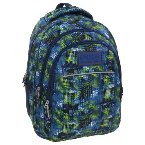 BackUp iskolatáska, hátizsák - 3 rekeszes - Kék-zöld (PLB1H30)