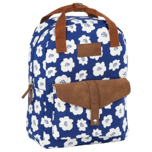 BackUp iskolatáska, hátizsák - 1 rekeszes - Fehér virágok (PLB2CA27)