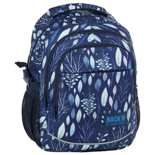 BackUp iskolatáska, hátizsák - 3 rekeszes - Kék levelek (PLB2G61)