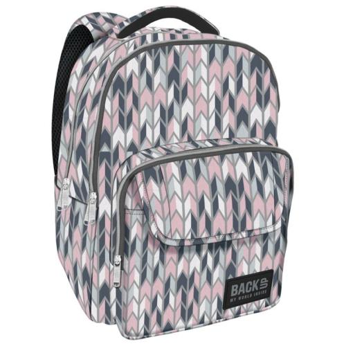 BackUp iskolatáska, hátizsák - 3 rekeszes - Pasztell cikcakk (PLB2L11)